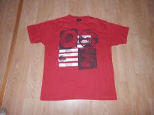 T shirt Quiksilver Rouge Manches Courtes Taille 16 ans (S) Très Bon état