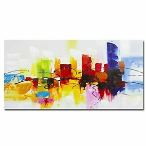 Fokenzary Hand Painted Colorful Abstract Painting on Canvas Bright Light Red