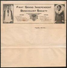 c1898 Topeka  Black Negro First Grand Independent Benevolent Society Letter Head