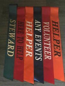 Personalised sashes for charities,events,volunteer,here to help,helper,steward