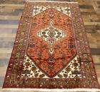 "4'x6'5"" Authentic Handmade wool Oriental Geometric Caucasian area rug Vintage"
