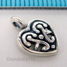 2x STERLING SILVER OXIDIZED HEART DANGLE CHARM PENDANT 8mm #1741