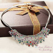 18K White Gold GF Made With Swarovski Crystal Multicoloured Statement Necklace
