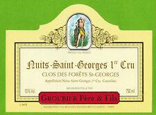 """Etiquette Vin de Bourgogne-Nuits St.Georges 1er Cru""""-Groubier-Réf.n°442"""