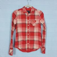 American Eagle Outfitters Womens Size 0 Red Plaid Lined Fitted Long Sleeve Top
