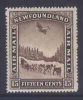 NEWFOUNDLAND C9v 1931 15c DOG TEAM & AIRPLANE AIRMAIL P13.8x13.8 MNH CV$65