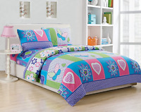 Comforter Sets Collection 4Pc Full Size Sheet Teens/Girls Purple Turquoise