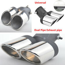 63mm Car SUV Modification Grilled SS304 2in1 Dual Exhaust pipe Tip Muffler Cover