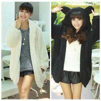 Winter Women Casual Fluffy Bear Ear Hoodie Hooded Jacket Warm Outerwear Coat