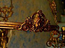 antico grande lampadario a petrolio elettrificato in metallo