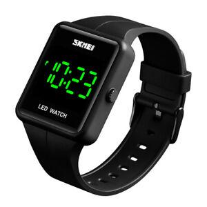 Digital LED Sport Watches Square Quartz 30m Waterproof Unisex Watch Mens Womens