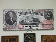 HUGE CANVAS! 1875 UNITED STATES NOTE- $2 DOLLAR - Thomas Jefferson / US Capitol