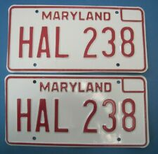 1976 Maryland License Plates matched pair excellent