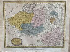 1806 Belgium Hand Coloured Map Original Antique 215 Years Old