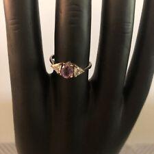 Vintage Sterling Silver & Amethyst Ring Dainty Rhinestone Size 8