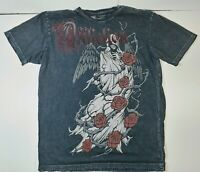 Affliction Death and Roses Faded Stone Washed Black T-Shirt Mens 2XL
