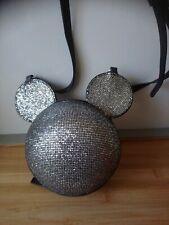 Joli petit sac boule strasses argentées tête de Mickey Disney état neuf