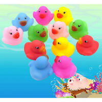 12 Pcs Colorful Baby Children Bath Toys Cute Rubber Squeaky Duck Ducky OJ