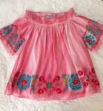 Women's Pink Off The Shoulder Floral Embroidered Top Blouse Small/Medium New