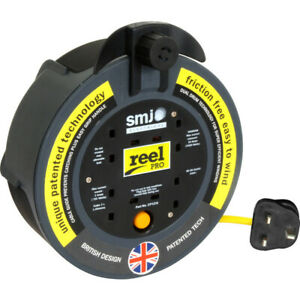 SMJ 10M 4 Gang Extension Lead Socket Cassette Reel Heavy Duty Electrical Mains