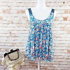 Free People Size M Blue Floral Layered Tank Top Blouse Crochet Straps Asymmetric