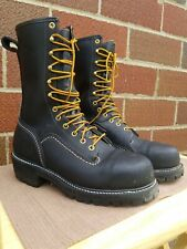 Hoffman Lineman Boots Black Leather Steel Toe Size 9 Used once so New/Used