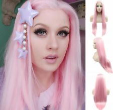 """AU STOCK 24""""Heat Resistant Lace Front Wig Synthetic Hair Straight White Pink"""