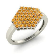 Neues Angebot0.86Ct Rund Natürlicher Edelstein Citrin Ringe 14K Weiss Gold Alle Größen