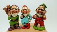 3 Vintage Gnome, Dwarf, Elf Figurines, Christmas Ornaments, Made in Japan 3 1/4""
