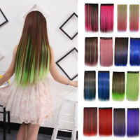 Full Head Clip In Long Straight Natural Women Tie Dye Synthetic Hair Extension #