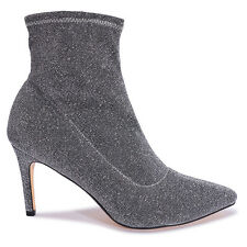 Ladies Glitter Sock Fit Lycra Ankle Boots Pointed Lurex Stretch Shoes Sexy Size
