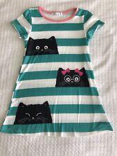 Sunshine Swing Girls Size 5 Black Cat Green Stripe Knit Dress Summer Fall VGUC