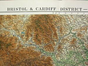 1919 Groß Karte ~ Bristol & Cardiff District ~ Physikalisch Monmouthshire