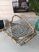 Black Wire Metal Storage Basket Rope Edge Handle Filing Tray Crate Office 2 size