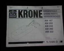 Krone AMT 283 323 CR & CV mower slasher Spare parts manual book AMT283 AMT323 CV
