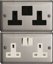 Varilight Double Socket 2 gang 13 amp switch MATT CHROME XS5B - XS5W
