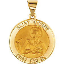 Saint St ANDREW Pendant Medal 18.0 mm 14k Yellow Gold Round Religious Jewelry