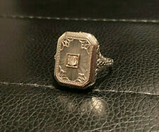 Antique Art Deco 1900's  14k White Gold Camphor Glass & Diamond Filigree Ring