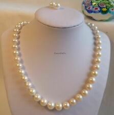 Genuine silver 10-11mm round freshwater pearl necklace+earrings set L45cm