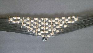 Jose Cotel 1980's Vintage Black Leather Womens Belt Silver Gold Ornate Free ship