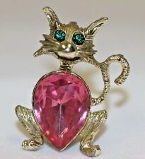 Vintage Dodds Cat Crystal Pink Green  Brooch Pin