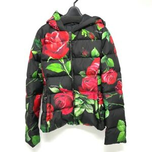 UNUSED DOLCE&GABBANA Rose Floral Down Puffer Jacket Nylon Black x Red