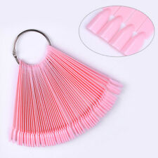 50Pcs False Display Nail Art Fan Wheel Polish Practice Pop Tips Sticks Tools DIY