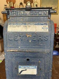 Authentic Antique 1909 Cast Iron U.S. Postal Mail Box