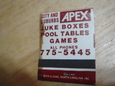 Vintage Zenith Vending City Suburbs APEX Juke Boxes Pool Tables Games matchbook