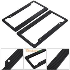 2x Plastic Carbon Fiber License Plate Frame Tag Cover Front & Rear Universal Car