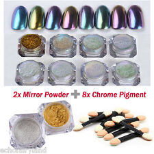 Nail Mirror Powder Nail Art Sequins Chrome Pigment Glitters with Brushes Kit DIY