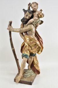 f50w30- Figur, Hl. Christophorus, Holz geschnitzt & gefasst