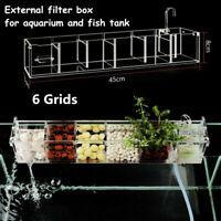 US Transparent 6 Grids Aquarium  Fish Tank External Hang On Filter Box Acrylic