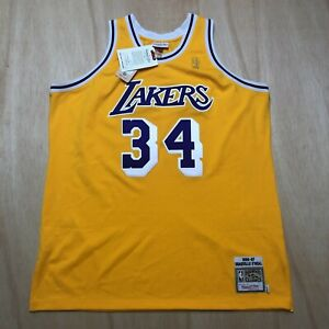 100% Authentic Shaquille O'Neal Mitchell Ness 96 97 Lakers Jersey Size 52 2XL